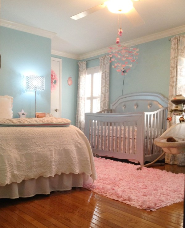 Baby Girl Nursery Aqua Pink and Grey