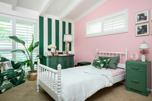 Green White Pink Girl Scout Wallpaper The Guncles Chic Pink And Green Big Girl Room Project