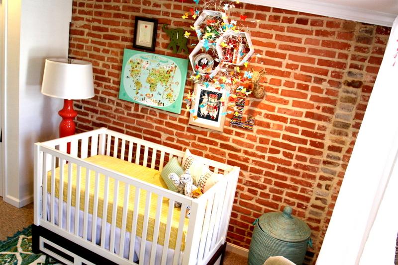 Exposed Brick Nursery Wall