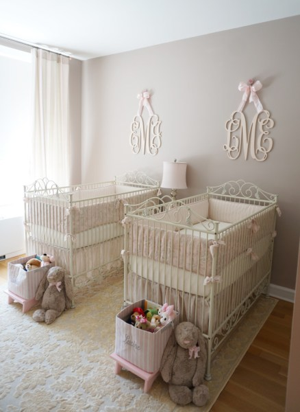 gray and pink twin girl bedroom ideas Pink, Ivory and Grey Twin Girls Nursery - Project Nursery