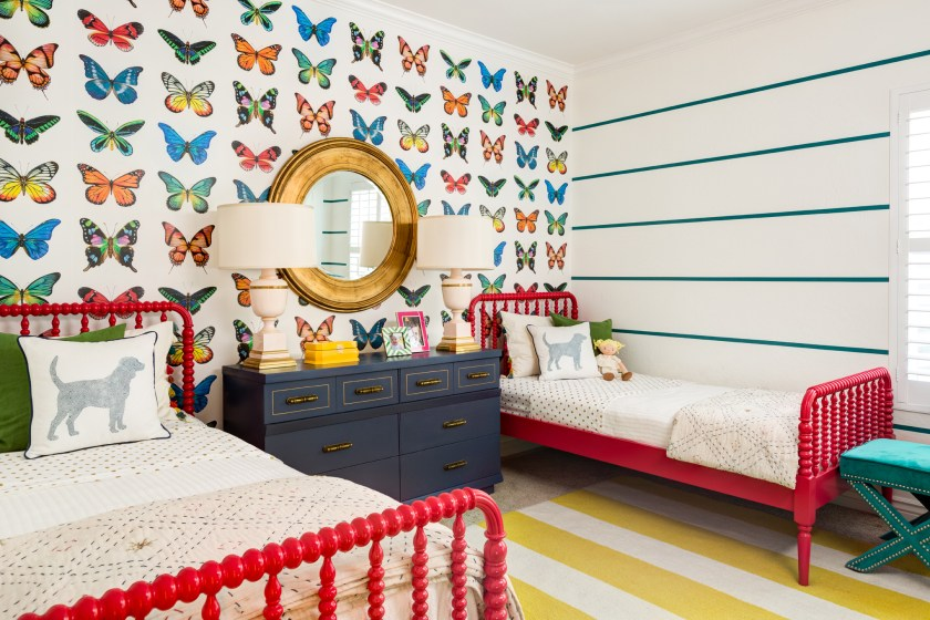 Colorful Shared Girls Room with Butterfly Wallpaper