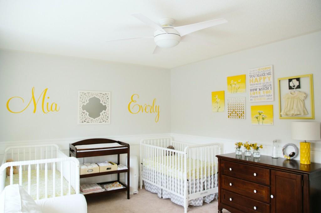 Yellow And Grey Twins Nursery