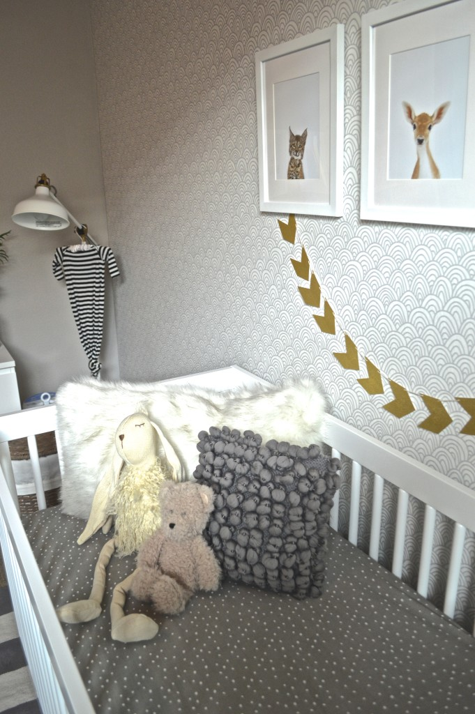baby room rocking chair life guard modern blue, grey and gold nursery - project