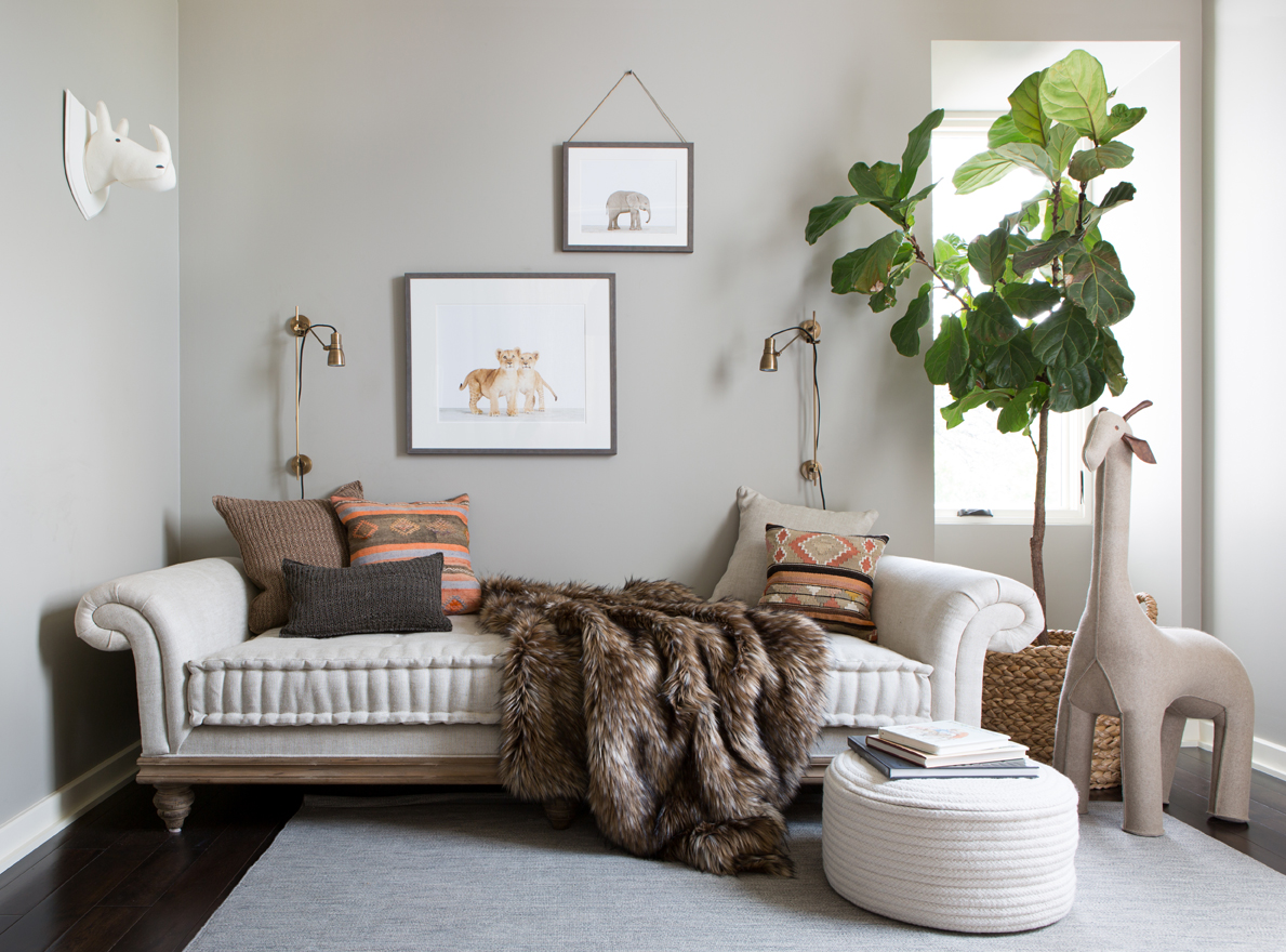 Neutral Safari-Inspired Nursery with Daybed