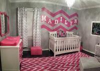 Gray, White and Hot Pink Chevron Nursery