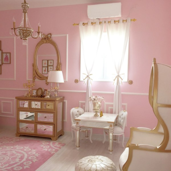 Gold and Pink Baby Girl Nursery Room Ideas