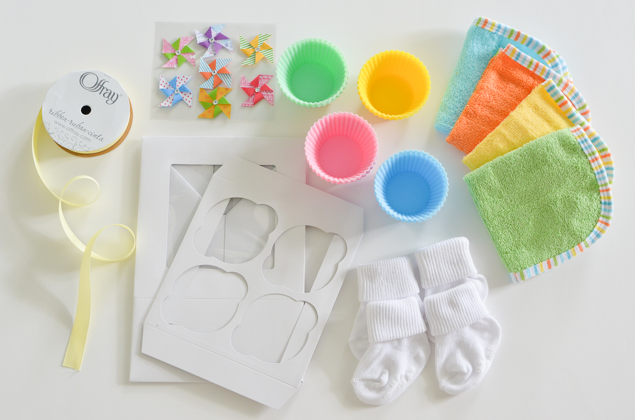 DIY Baby Washcloth Cupcakes Supplies