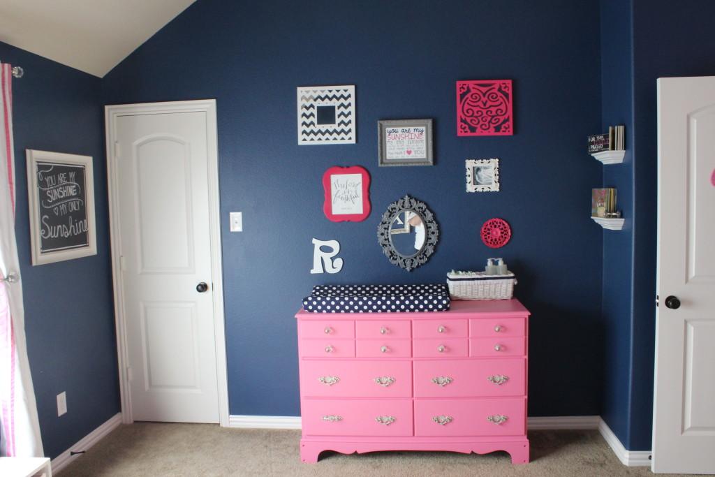 Pink Grey and Navy Nursery  Project Nursery