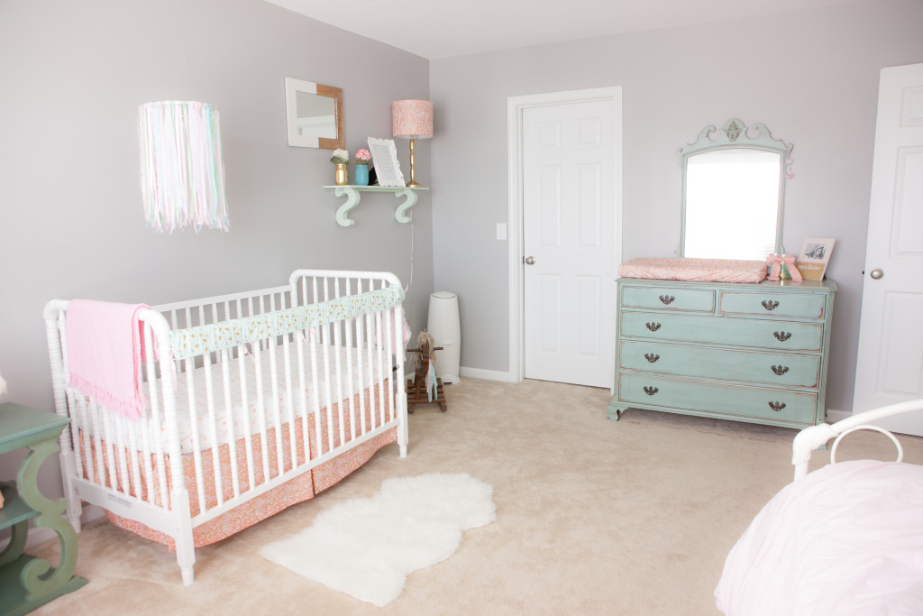 Pink, Mint and Gray Baby Girl Nursery