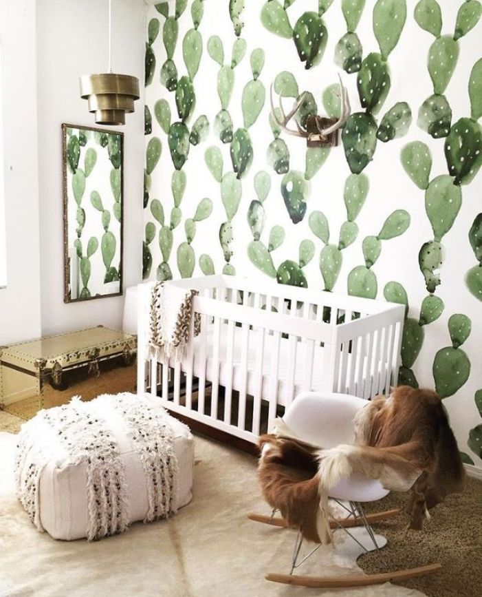 Southwestern-Inspired Nursery with Cactus Wallpaper