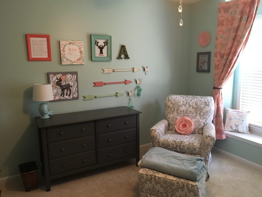 diy canvas art for living room paint colors images woodland girl's nursery in mint, coral, and gray - project ...