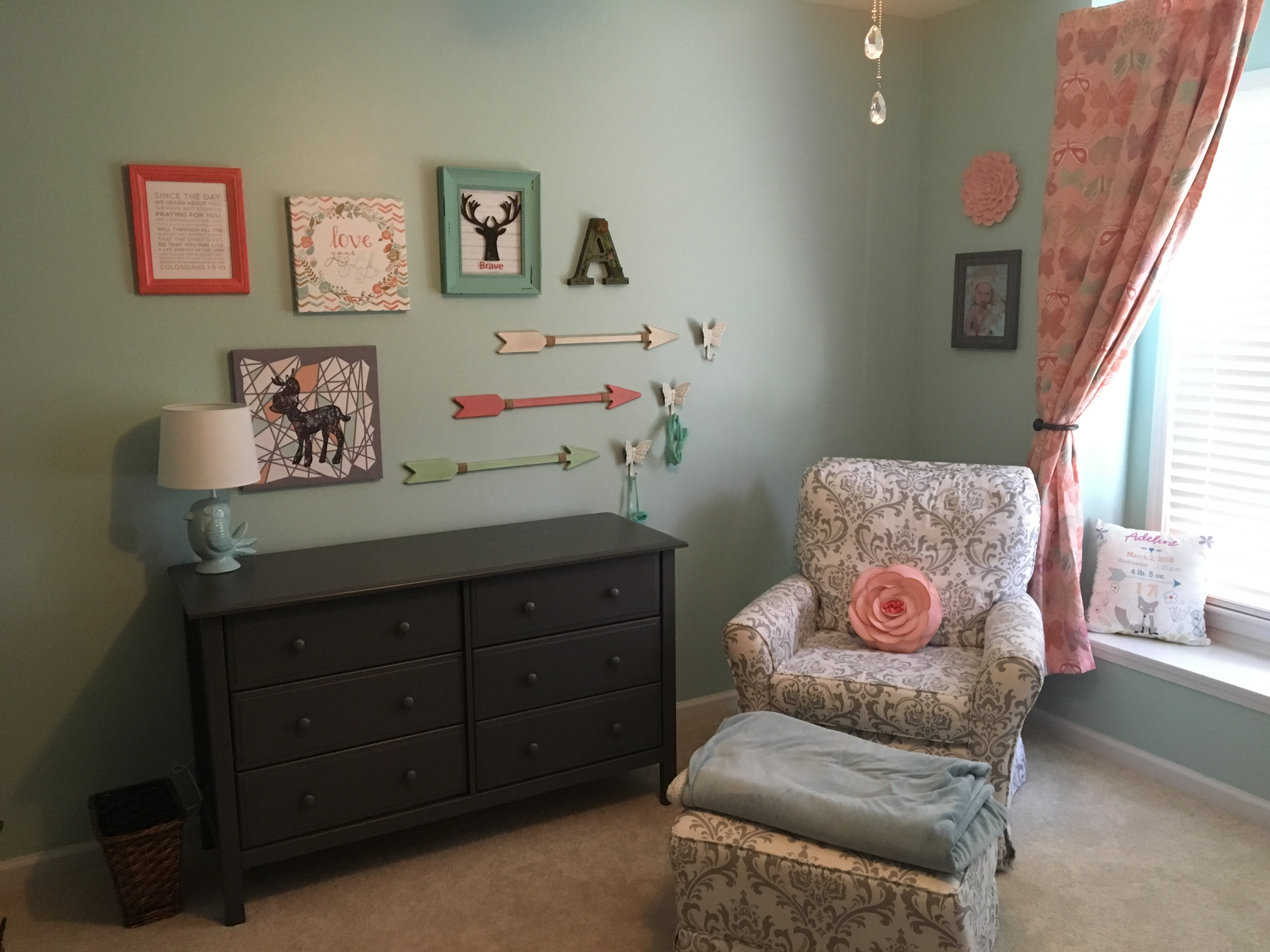 Woodland Girls Nursery In Mint Coral And Gray Project