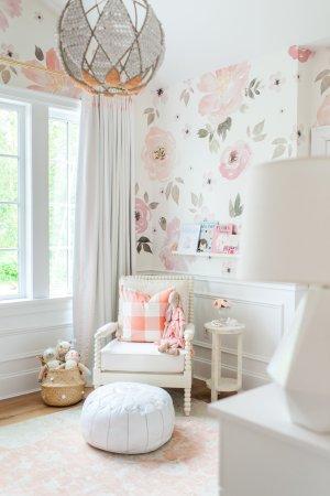 nursery floral hibbs monika chair pompom pouf basket