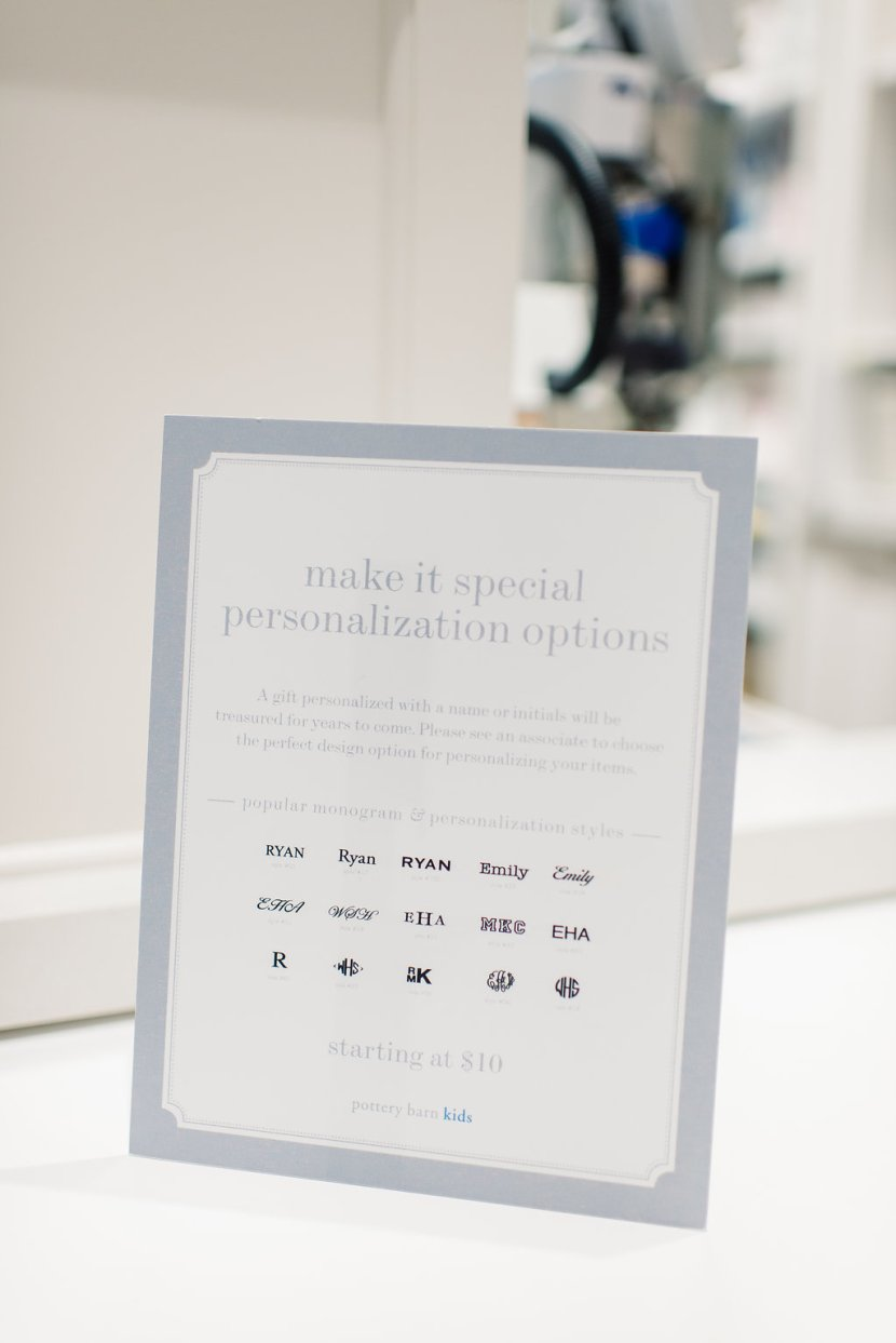 Personalization Options from Pottery Barn Kids