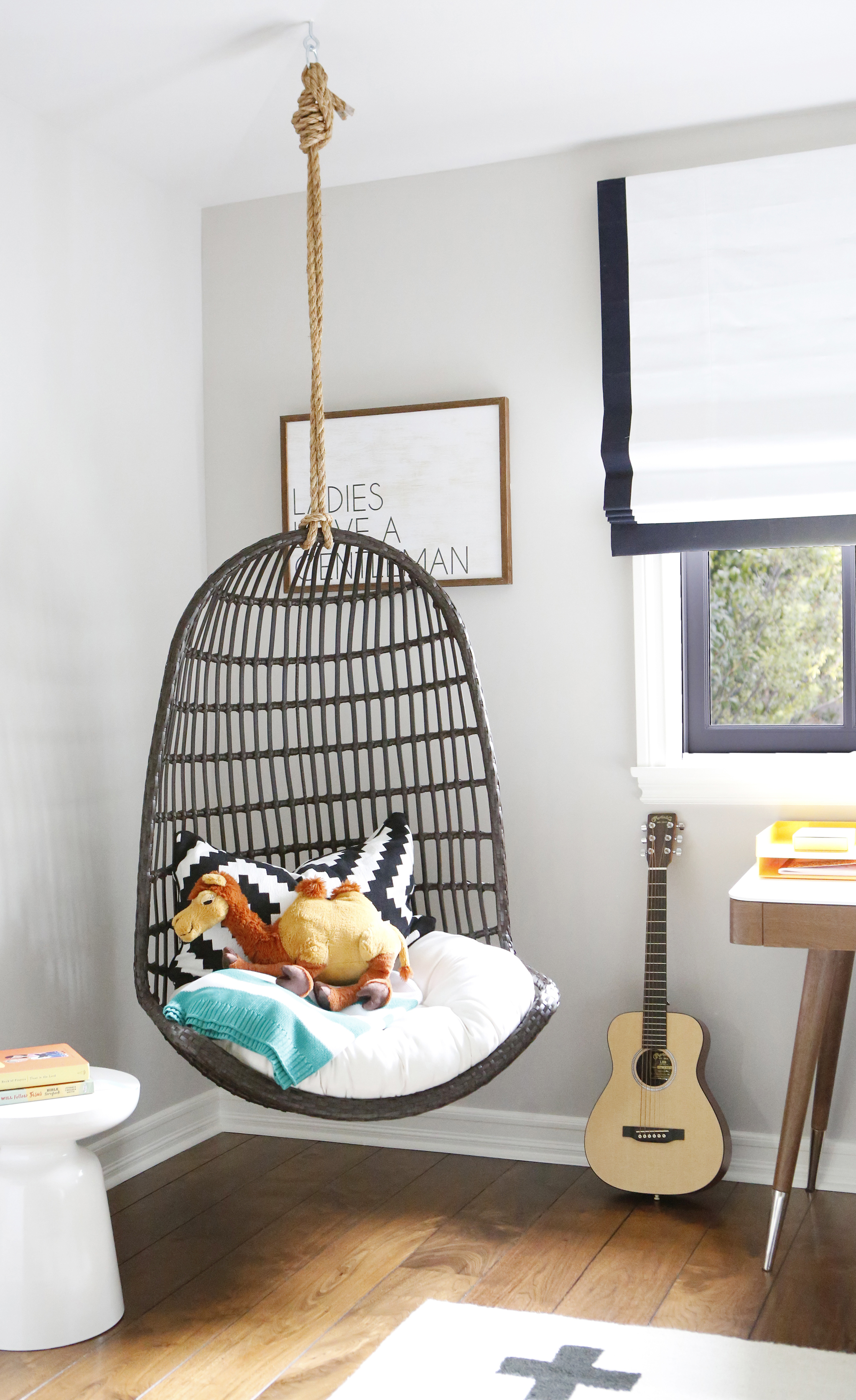 hanging chair in room gray slipcover trendspotting chairs are swinging into kids design brooke mahan s big kid