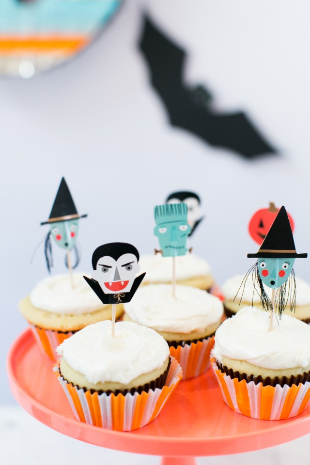 Vampire, witch, Frankenstein Halloween cupcake food picks from Meri Meri