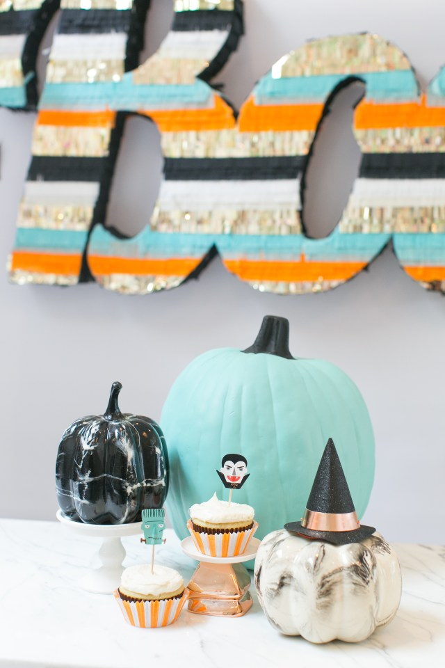 Teal, black and white marble pumpkins and Halloween cupcakes