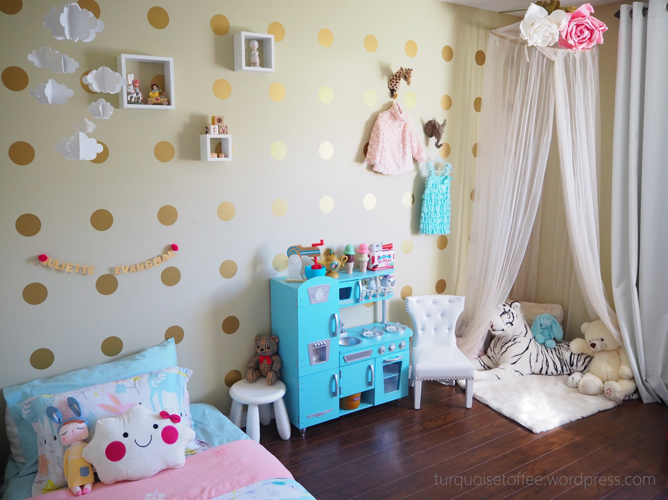 ikea toddler chair pedicure parts gold, turquoise and pink little girl room - project nursery