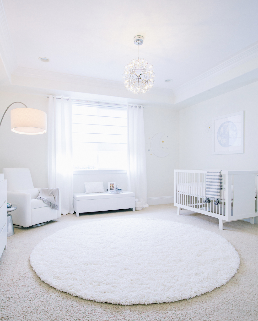 All White Celestial Nursery Design by Little Crown Interiors