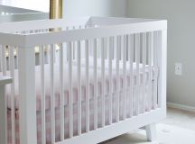 Babyletto White Crib and Pehr Rug in Swan Inspired Nursery