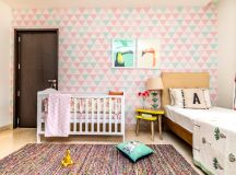 Pink and Mint Nursery with Triangle Accent Wall