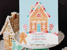 Set the tone for your party by sending our Gingerbread House Invitations!