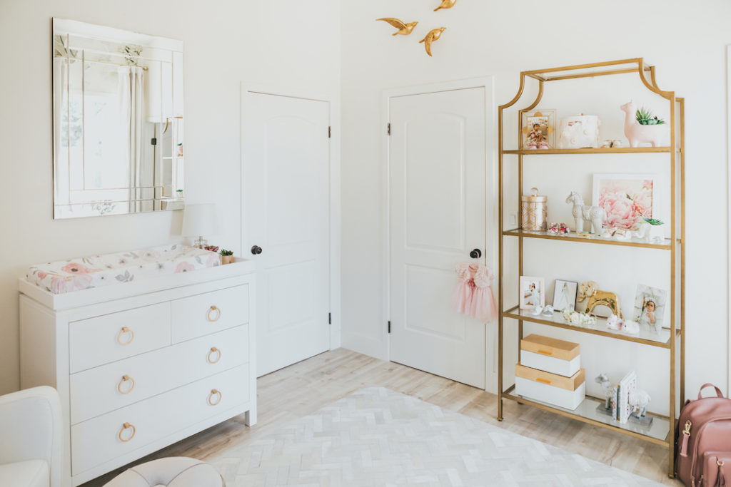 Jessi Malay's White & Gold Nursery Design by Little Crown Interiors