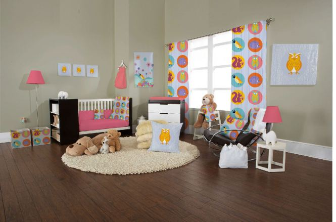 Agreeable Design Baby Nursery Furniture Sets Beige Color Wooden Closet Pink Frieze Rug Cream Wall Paint