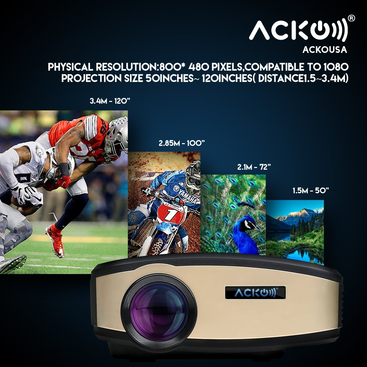 Acko Wi-Fi LED HD projector