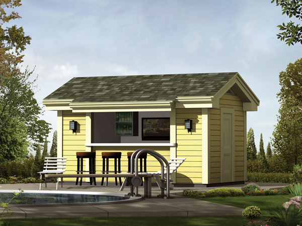 Coolwater Pool Cabana With Bar Plan 009D-7525