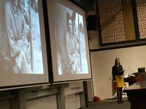 Lene Hansen, University of Copenhagen, and one of her example images. (Photo: Jose Torrealba)