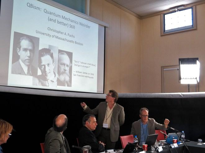 Chris Fuchs introduces his presentation on QBism as fellow panelists Glenda Sluga, Stephen Kern, and Arthur Miller (L-R) look on. (Photo: Gilbert Bel-Bachir)