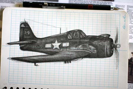 f6f hellcat drawing by nell on mission to palau with bentprop.org to find MIAs