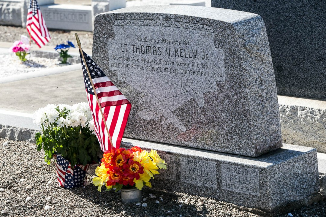 Gravestone of Lt. Thomas Kelly, Memorial Day Service, MIA Research - Harry Parker Photography