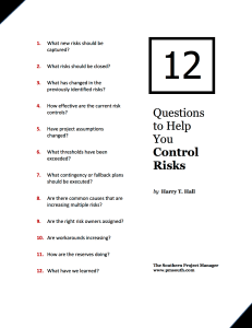 12 Questions for Risk Control