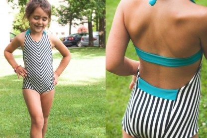 Azur swimsuit by Petit A Petit & Family for Project Run & Play