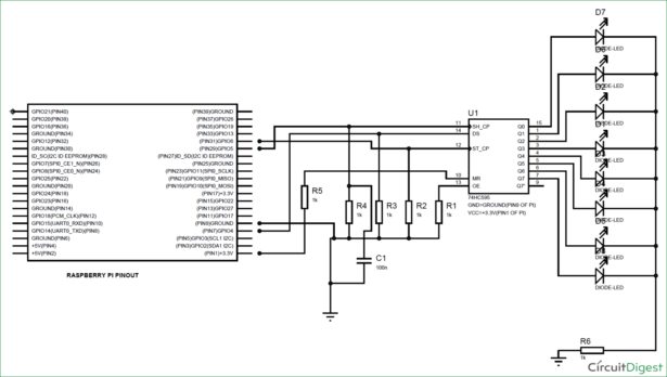 Interfacing 74HC595 Serial Shift Register with Raspberry