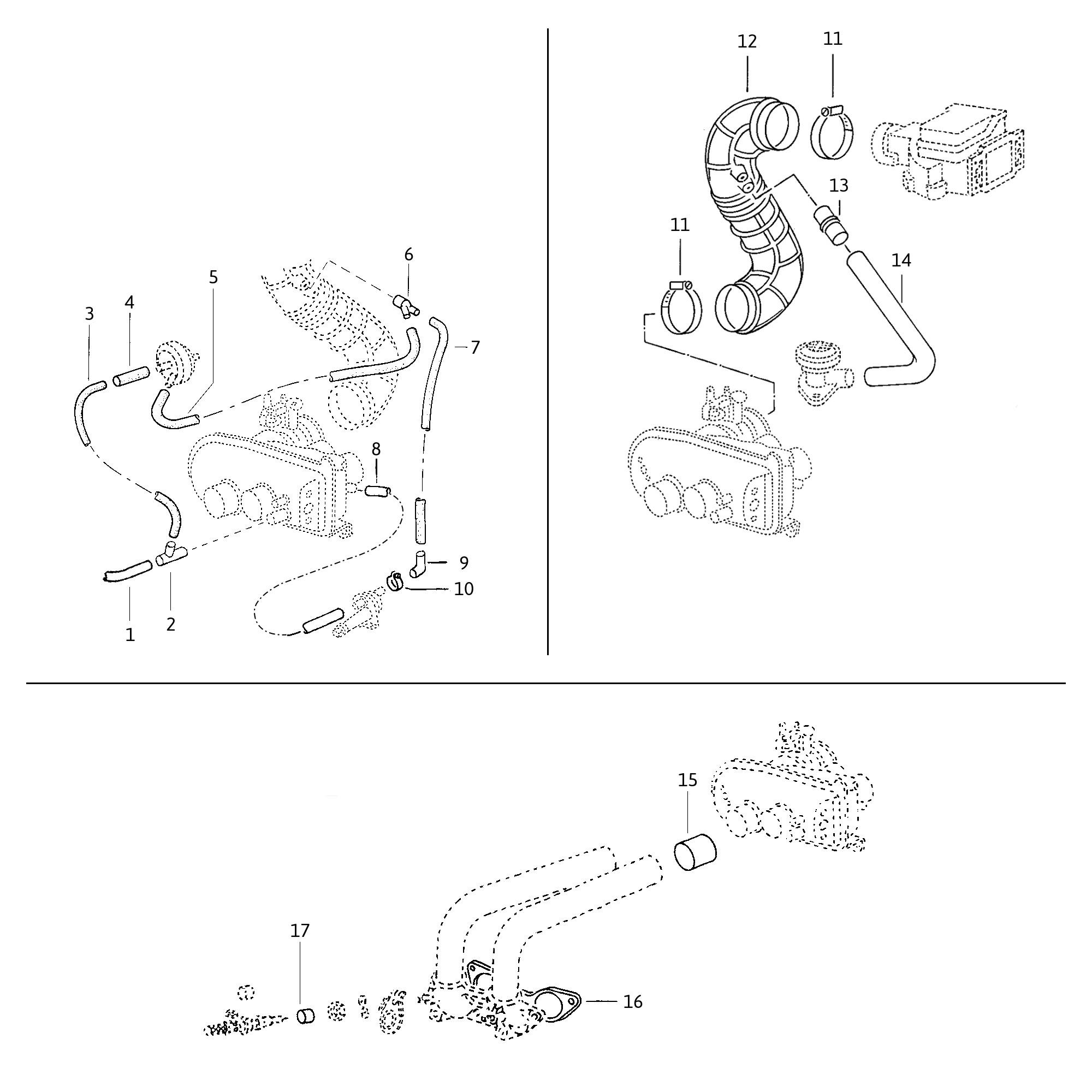 VW bus vacuum hose guide