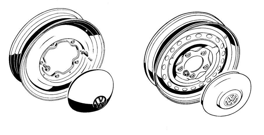 Volkswagen Type 2 bus hubcap identification guide