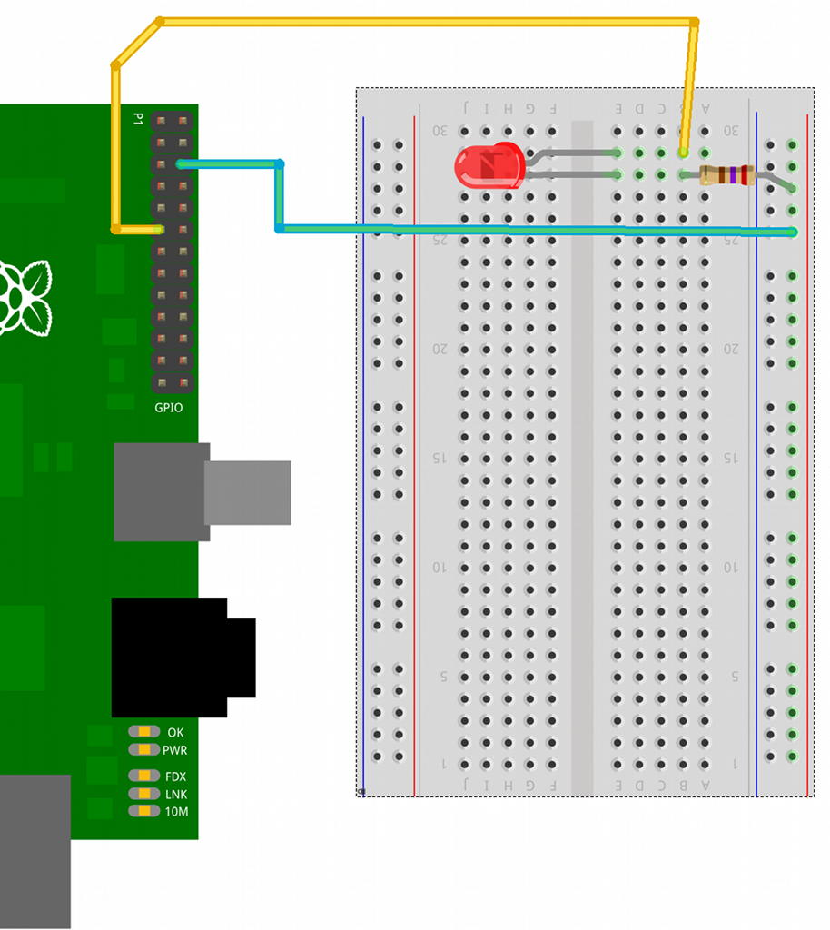 hight resolution of breadboard layout for gpio controlled led