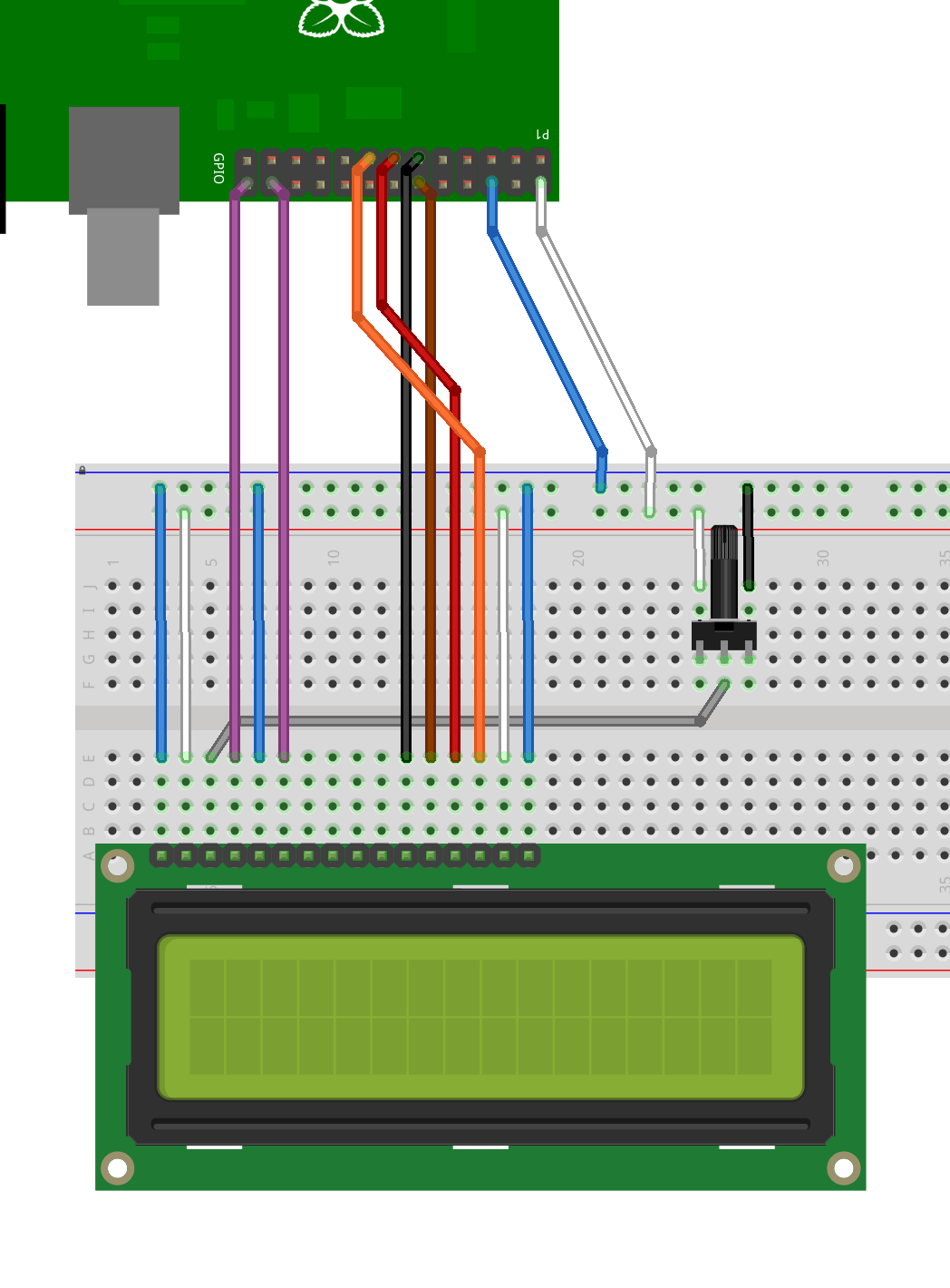 hight resolution of lcd connected to pi in 4 bit mode