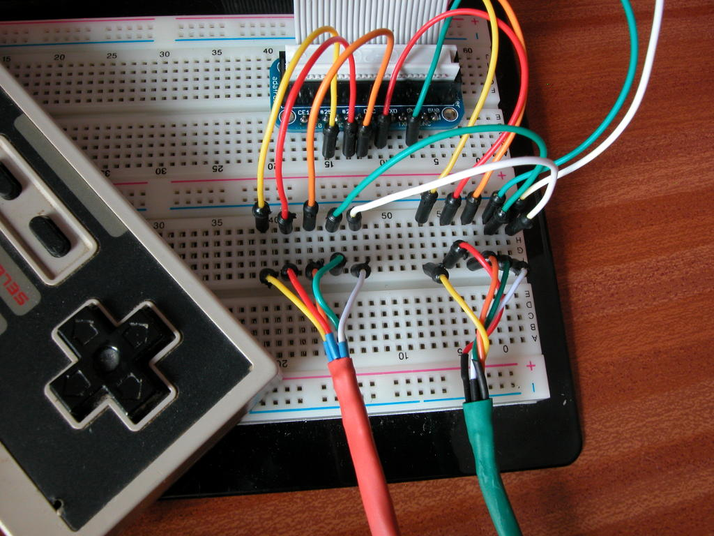 hight resolution of two nes controllers on a pi