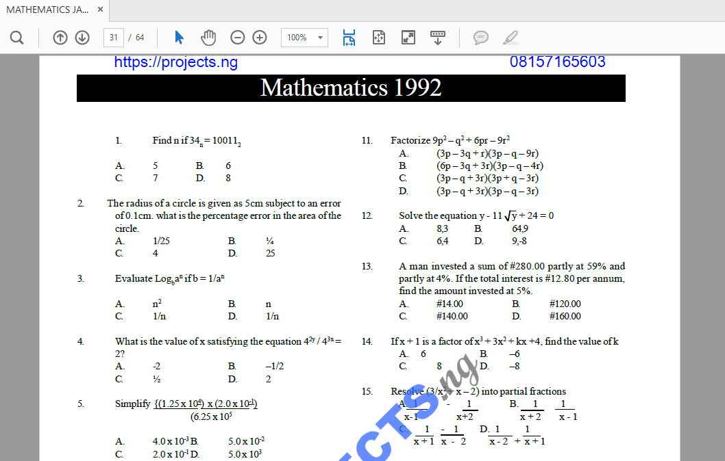 Question jamb answer past pdf and
