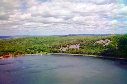 Overlooking Devil's Lake State Park in Baraboo, Wisconsin and the surrounding greenery and trees