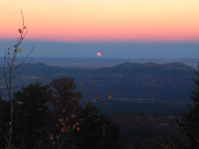 Sunset from the top of the Sandia Mountains in Albuquerque, New Mexico