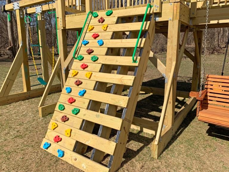 Rock climbing wall on a playground