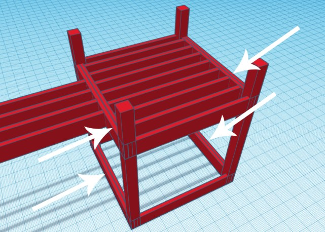 Double 2x support beams shown with white arrows on a playground