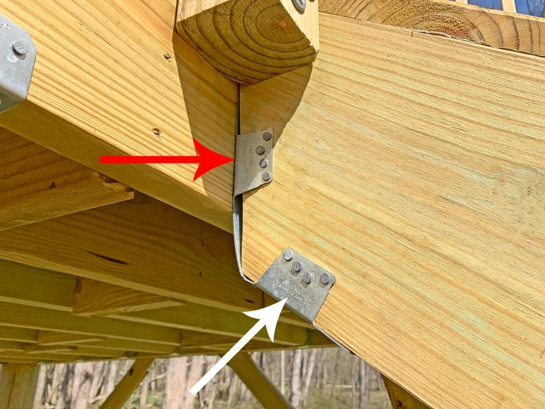 Simpson Strong-Tie LSCZ stair stringer fastened to a playground
