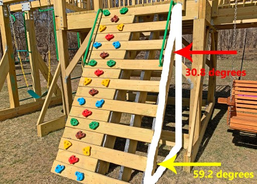 Triangle used to calculate joist angles overlaid on the actual playground