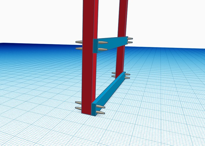 4x4 posts with single 2x support beams